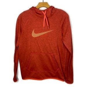 Nike Dri-Fit Red Pull Over Sweatshirt with Hood and orange Swoosh on chest S